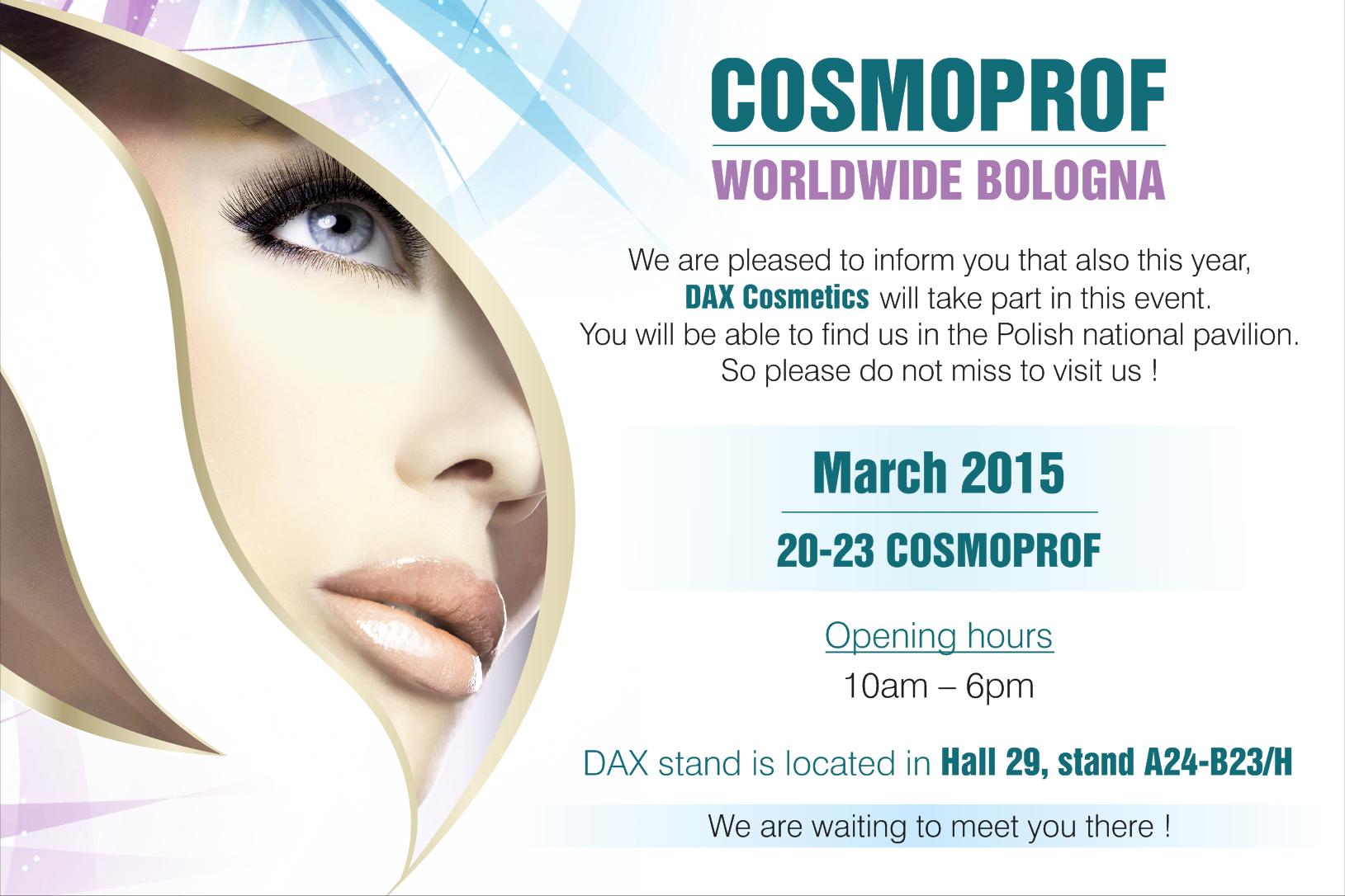 Zaproszenie na targi Cosmoprof 2015 20-23.03 Bolonia